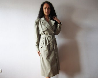 Beige Grey Trench Coat Women's Double Breasted Belted Overcoat Military Style Raincoat Classic Preppy Medium Size