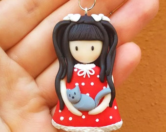 Doll with a Cat Necklace (Gorgeous) - Handmade in Polymer Clay
