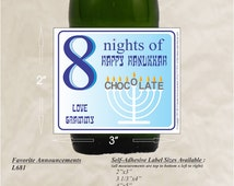 Hannukkah Menorah, Chanukah Favors, Happy Hanukkah, Personalized Label, Holiday Favors, mini liquor labels, wine accessorie(Set of 24)(L681)