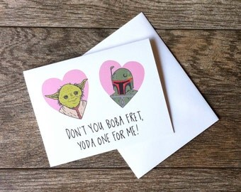 Yoda and Boba Fett Star Wars Love Greeting Card