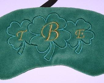 St Patrick's Day Irish Personalised Vintage Green Velvet Custom Handmade Monogram Embroidered Sleep Eye Mask Blindfold Blackout
