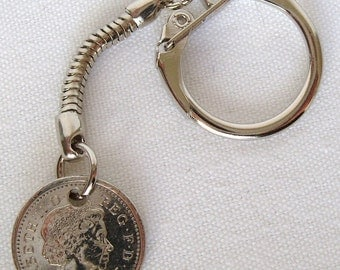 2008 New Design British Five Pence Coin Keyring Key Chain Fob Queen Elizabeth II