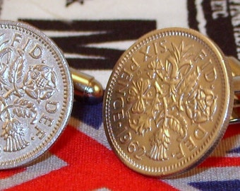 Boxed Pair Vintage British 1962 Lucky Sixpence Six Penny Coin Cufflinks Wedding 55th Birthday Anniversary