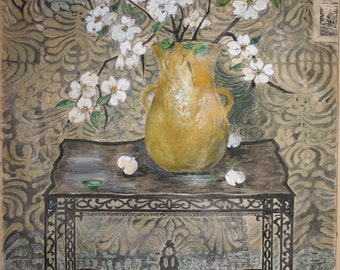 Maud M H Wood (1878-1942) Fine Art Painting Gouache on Paper & Framed Early 1920s Stil Life Painting Chinoiserie Wallpaper