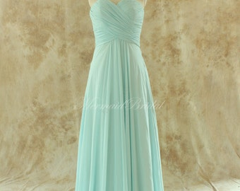 Simple mint blue bridesmaid dress, prom gown with sweetheart neckline