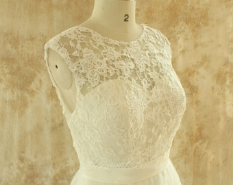 Open back Romantic A line tulle lace wedding dress
