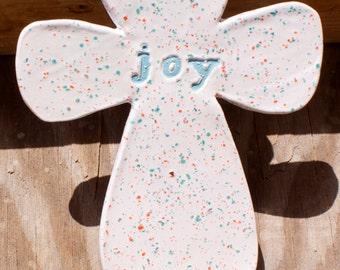 Joy Ceramic Cross, Funfetti, Small