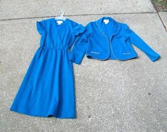 Vintage Dress, Vintage Jacket, Vintage Dress Set, Dress & Jacket Set, Teal Dress, Teal Vintage Dress, Teal Jacket, Teal Vintage Jacket, Set