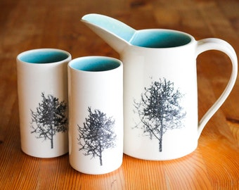 Made to Order, Ceramic Jug, Porcelain Water Pitcher, Silk Screened tree, Turquoise interior