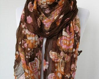 ON SALE - Brown Floral Fashion Scarf - Multicolor Scarf - Trendy Fabric Scarf - Shawl Flower Garden  - 610