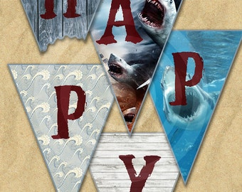 Shark Week Sharknado Jaws Themed Happy Birthday Banner Printable Download
