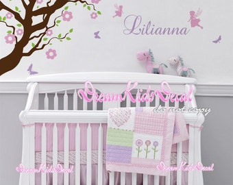 Branch flowers with fairy Butterflies -Name Vinyl Wall Decal pink floral, wall decal tree baby nursery wall decal kids mural-DK149