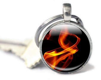 Fire Keyring - Flame Glass Keyring - Fire Keychain - Fire Photo Keychain (flames 1)