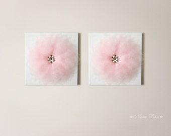 Canvas Art Set  Flower Wall Decor Nursery Art Wall Hangings Nursery Decor Wedding Decor Flower Decor 12X12 Canvas Custom Color