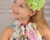 Flower Headband, lace flower, Lime Flower Headband, 5 inch flower headband, girls flower headband, newborn headband, teen headband, prop
