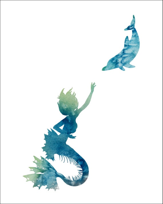 Items Similar To Mermaid And Dolphin Watercolor Painting