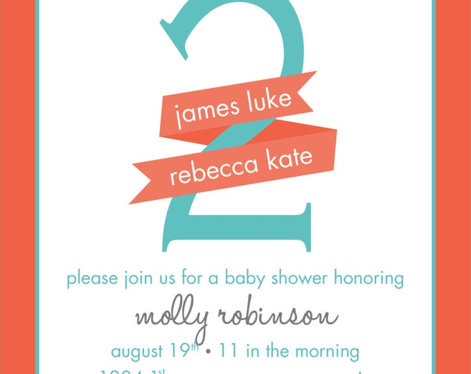 Twins ~ Due with Two | Baby Shower Invitation