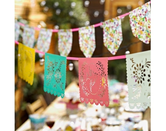 Wedding / Party Garland - Mexican Papel Picado Style Bunting - Cut Out - Flowers and Birds