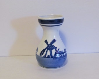 Vintage Delft Blue Vase Dutch Windmill