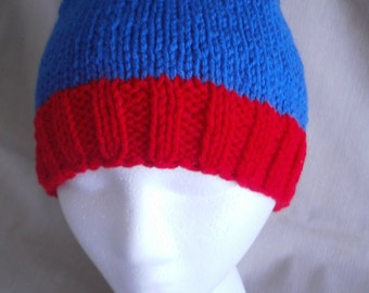 Hand knit hat/Beanie - Blue & Red