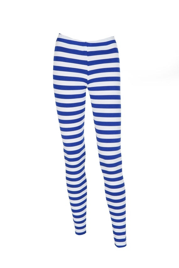 Blue Striped Leggings