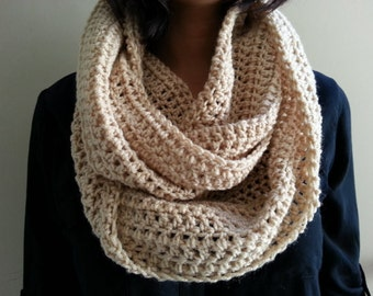 SALE Oatmeal Buff Beige Infinity Scarf Crocheted