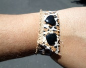Leopard Love: Brown and Black Leopard Print Bracelet Cuff w/ Adjustable Black Heart Snap Closures by BandHäna