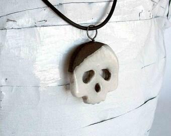 Raku Ceramic Skull pendant - jewels in raku - europeanstreetteam