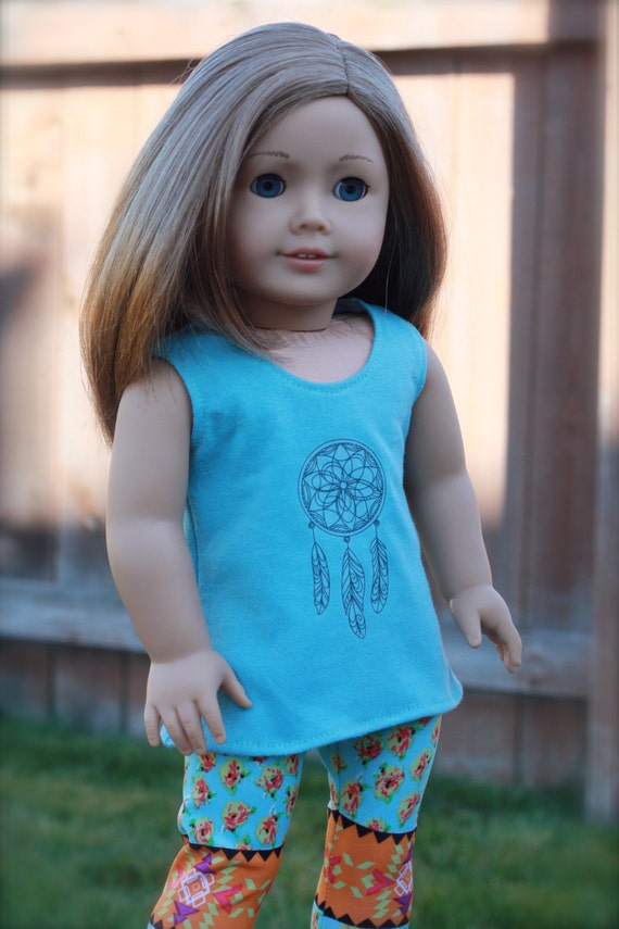 American Girl 18 Inch Blue Aqua Dream Catcher Tribal Graphic Tank