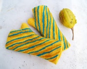 Hand felted mittens , striped yellow and turquoise. OOAK - filcAlki