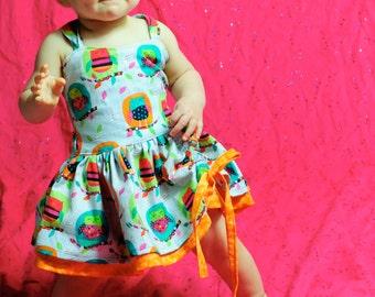 Boutique Quality Peekaboo Dress Owls and Orange Size Newborn - 5t