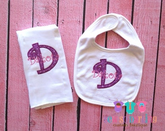 Baby Girl Burp Cloth Bib set - Baby Girl Personalized Gift Set- Personalized Baby gift