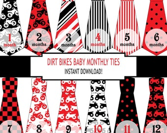 Dirt Bike Baby Month Stickers, Baby Stickers, Monthly Baby Stickers, Monthly Baby Pictures, Dirtbikes, Motorcycles, ATV