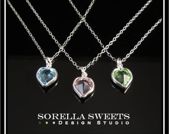 Swarovski® Heart Birthstone Necklace on a Sterling Silver Chain