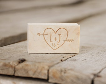 Custom Personalized Arrow Through the Heart Initials (with date, optional) Monogram Rubber Stamp