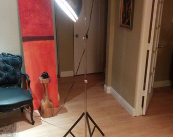 Vintage industrial Smith Victor adjustable floor lamp with light diffusing screen