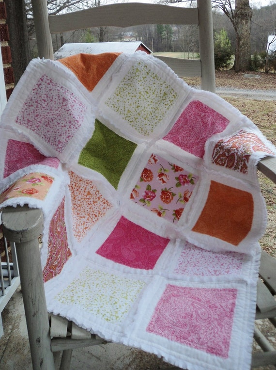 "Spring Summer Flowers Bright Vivid Colorful BABY Rag Quilt 31"" x 31"" Throw NEW Ready 2 ship Free U.S. shipping"