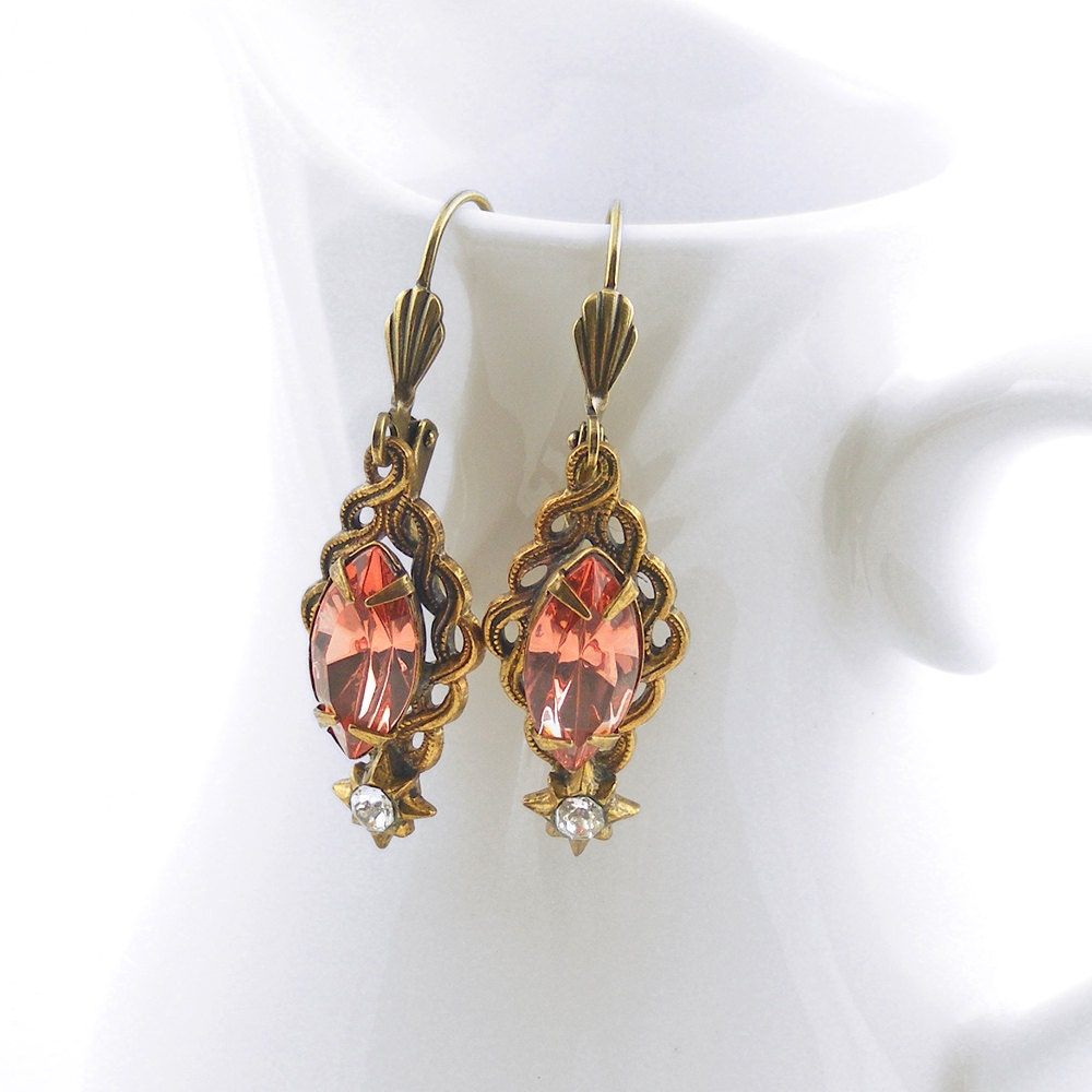 Vintage Peach Earrings, Estate Style Peach Crystal Earrings with Vintage Rhinestones, OOAK