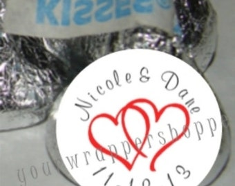 324 Personalized Custom WEDDING Double Hearts BRIDAL SHOWER Kiss Labels Stickers Party Favors Supplies