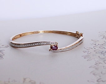 Gold Plated Sterling Silver Pink Spinel Bangle, Balas Ruby Hinged Bracelet, Gemstone Hinged Bangle