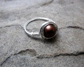 Chocolate Brown Ring, Brown Glass Ring, Wire Wrapped Ring, Brown Ring, Wire Wrapped Jewelry Handmade, Glass Bead Ring, Chunky Ring