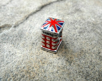 British Phone Booth Charm, Red Telephone Box Charm, Red Charm, British Charm, Bracelet Charm, European Charm Bead, Pugster Charm