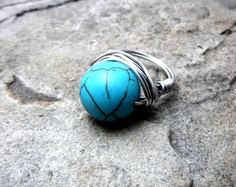 Chunky Turquoise Ring, Wire Wrapped Ring, Blue Stone Ring, Blue Ring, Wire Wrapped Jewelry Handmade, Gemstone Ring, Howlite Ring