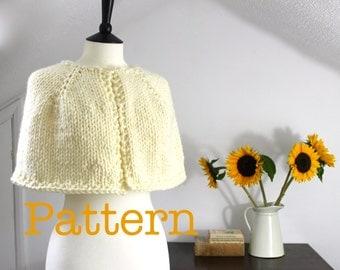 Knit Cape PATTERN - knitting pattern, knitted cape pattern, instant download, cape knit pattern, knit shawl pattern, capelet