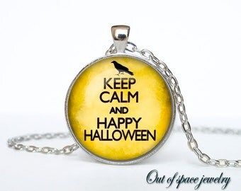 Keep calm and happy halloween carry on jewelry keep calm and carry on necklace