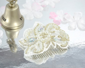 Lace Bridal Hair Comb, Lace Wedding Hair Piece, Beaded Lace Bridal Hair Piece.
