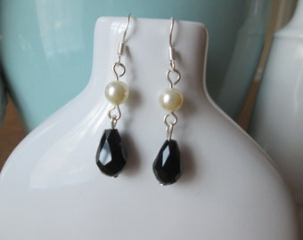 Sterling Silver Swarovski Pearl and Crystal Earrings by The Darling Duck