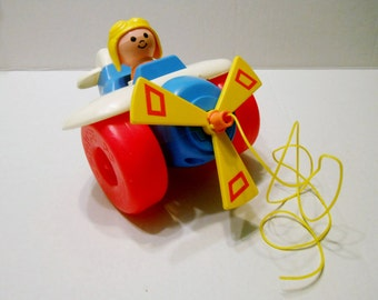 Fisher Price pull toy Airplane 1980 made in the USA 171