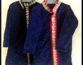 Boys velvet kurta in navy blue velvet with stone work