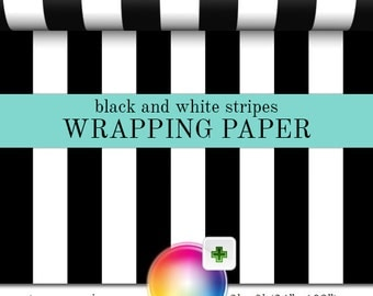 Gift Wrap Black And White Stripes Pattern | Custom Wrapping Paper In Two Sizes Great For Any Occasion. Made In The USA